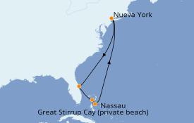 Itinerario de crucero Bahamas 9 días a bordo del Norwegian Gem