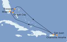 Itinerario de crucero Caribe del Este 8 días a bordo del MSC Seaside
