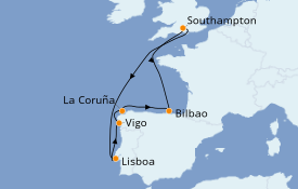Itinerario de crucero Mediterráneo 9 días a bordo del Anthem of the Seas