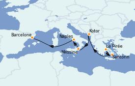 Itinerario de crucero Mediterráneo 8 días a bordo del Regal Princess