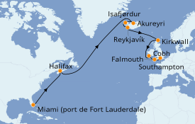 Itinerario de crucero Islas Británicas 19 días a bordo del Island Princess