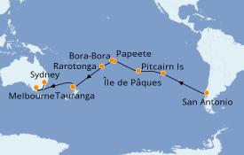 Itinerario de crucero Vuelta al mundo 2020 30 días a bordo del Costa Deliziosa