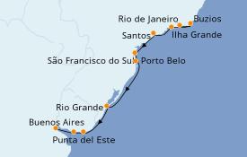 Itinerario de crucero Suramérica 13 días a bordo del Seven Seas Voyager