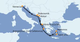 Itinerario de crucero Grecia y Adriático 8 días a bordo del Norwegian Star