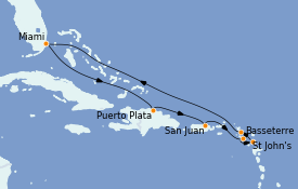 Itinerario de crucero Caribe del Este 10 días a bordo del Seven Seas Splendor