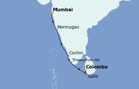 Itinerario del crucero India 9 días a bordo del Le Champlain