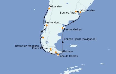 Itinerario del crucero Norteamérica 12 días a bordo del Celebrity Infinity