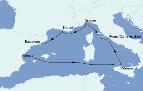 Itinerario del crucero Mediterráneo 6 días a bordo del Costa Toscana