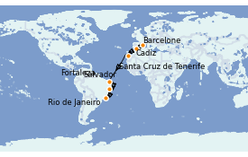 Itinerario de crucero Trasatlántico y Grande Viaje 2021 15 días a bordo del MSC Preziosa