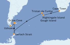 Itinerario de crucero Exploración polar 22 días a bordo del Le Lyrial