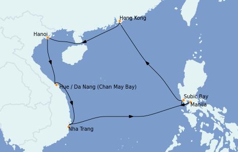 Itinerario del crucero Asia 10 días a bordo del Celebrity Solstice