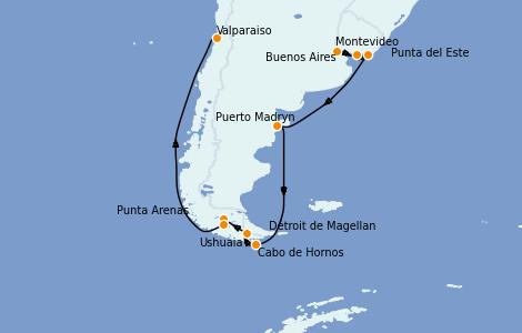 Itinerario del crucero Suramérica 12 días a bordo del Celebrity Infinity