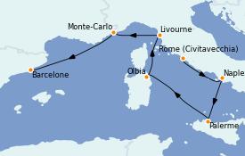 Itinerario de crucero Mediterráneo 8 días a bordo del ms Nieuw Statendam
