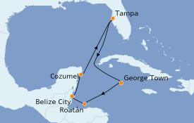 Itinerario de crucero Caribe del Oeste 8 días a bordo del Carnival Legend