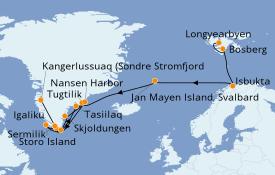 Itinerario de crucero Exploración polar 15 días a bordo del L'Austral