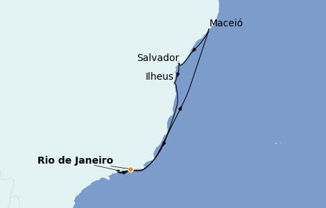 Itinerario del crucero Suramérica 8 días a bordo del MSC Preziosa