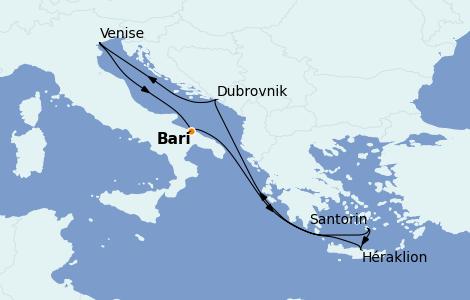 Itinerario del crucero Grecia y Adriático 7 días a bordo del MSC Musica