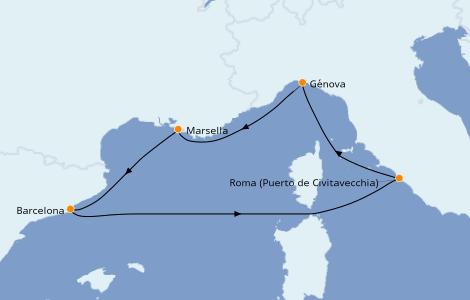 Itinerario del crucero Mediterráneo 5 días a bordo del MSC Poesia