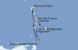 Itinerario de crucero Caribe del Este 8 días a bordo del Costa Favolosa