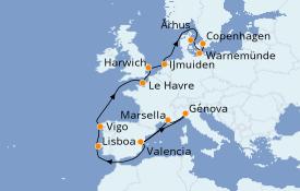 Itinerario de crucero Mediterráneo 16 días a bordo del Costa Fascinosa