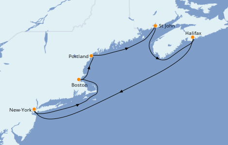 Itinerario del crucero Canadá 7 días a bordo del Norwegian Joy