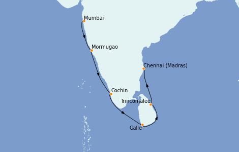 Itinerario del crucero India 12 días a bordo del Le Champlain