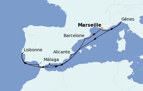 Itinerario del crucero Mediterráneo 10 días a bordo del MSC Virtuosa