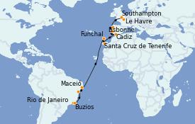 Itinerario de crucero Trasatlántico y Grande Viaje 2022 20 días a bordo del MSC Preziosa