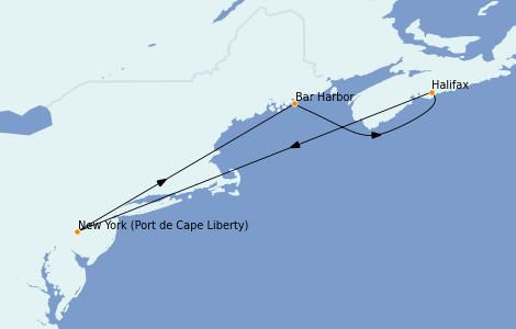 Itinerario del crucero Canadá 5 días a bordo del Adventure of the Seas