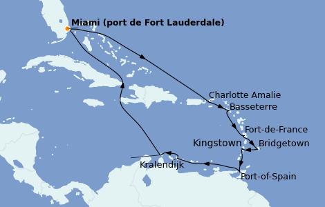 Itinerario del crucero Caribe del Este 14 días a bordo del Island Princess