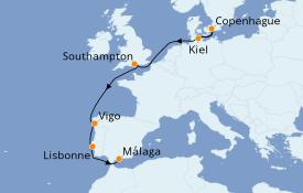 Itinerario de crucero Mediterráneo 8 días a bordo del MSC Splendida