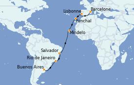 Itinerario de crucero Suramérica 20 días a bordo del MSC Poesia