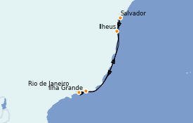 Itinerario de crucero Suramérica 8 días a bordo del MSC Preziosa