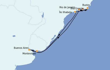 Itinerario del crucero Suramérica 9 días a bordo del MSC Orchestra