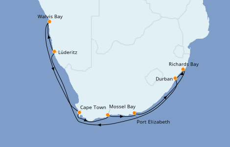 Itinerario del crucero África 12 días a bordo del Norwegian Jade