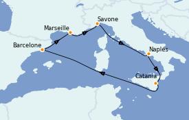 Itinerario de crucero Mediterráneo 8 días a bordo del Costa Diadema