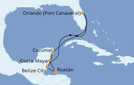 Itinerario de crucero Caribe del Oeste 8 días a bordo del Carnival Magic