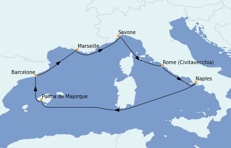 Itinerario del crucero Mediterráneo 7 días a bordo del Costa Firenze