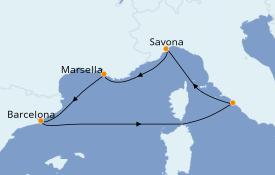 Itinerario de crucero Mediterráneo 6 días a bordo del Costa Smeralda