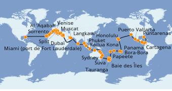 Itinerario de crucero Vuelta al mundo 2021 112 días a bordo del Island Princess