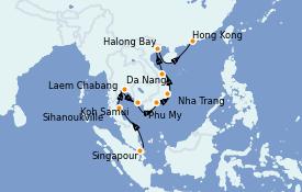 Itinerario de crucero Asia 15 días a bordo del ms Noordam