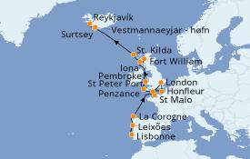 Itinerario de crucero Islas Británicas 18 días a bordo del Silver Cloud Expedition