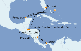 Itinerario de crucero Caribe del Oeste 12 días a bordo del Le Boréal