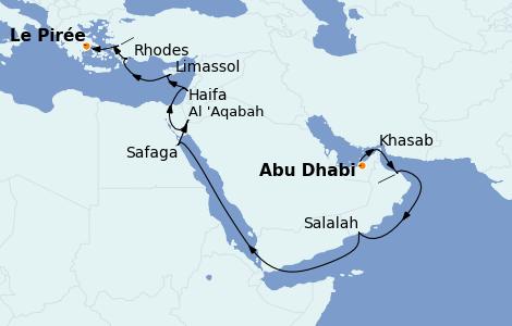 Itinerario del crucero Grecia y Adriático 19 días a bordo del Seven Seas Navigator