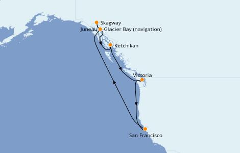 Itinerario del crucero Alaska 10 días a bordo del Ruby Princess