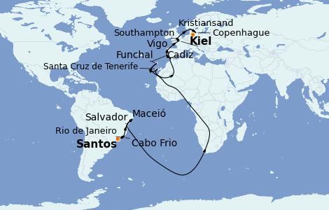 Itinerario del crucero Trasatlántico y Grande Viaje 2022 24 días a bordo del MSC Preziosa