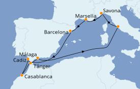 Itinerario de crucero Mediterráneo 11 días a bordo del Costa Favolosa