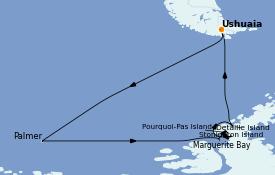 Itinerario de crucero Suramérica 15 días a bordo del Le Commandant Charcot