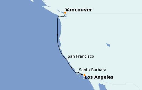 Itinerario del crucero California 6 días a bordo del Discovery Princess