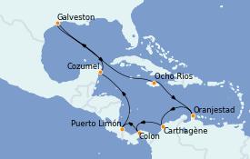Itinerario de crucero Caribe del Oeste 15 días a bordo del Carnival Dream